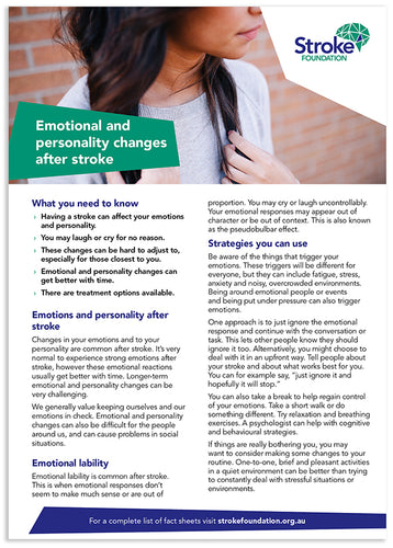 Fact sheet - Emotional and personality changes after stroke (50 pack)