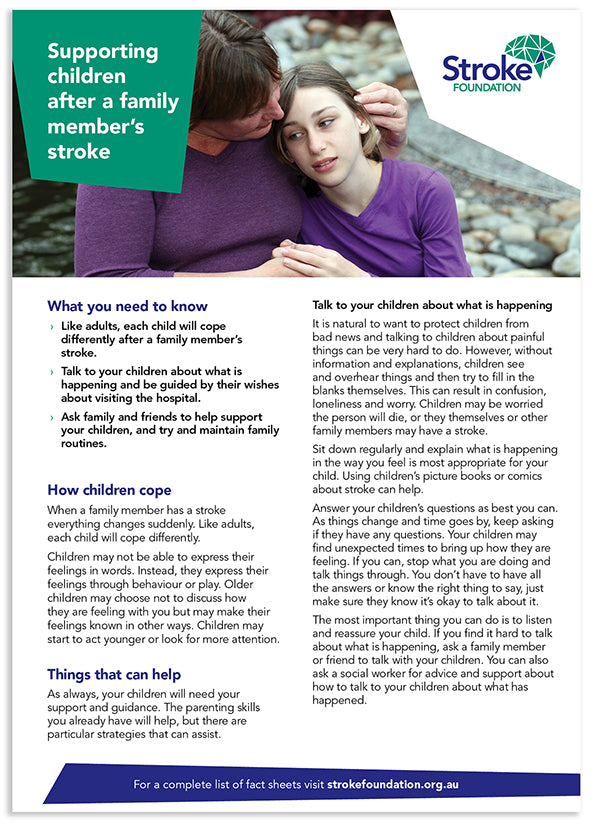 Fact sheet - Supporting children after a family member's stroke (50 pack)