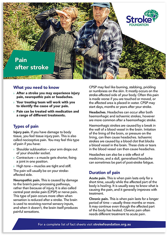 Fact sheet - Pain management after stroke (50 pack)