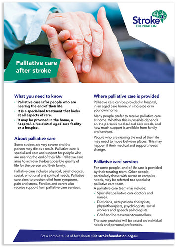 Fact sheet - Palliative care after stroke (50 pack)