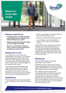 Fact sheet - Returning to work after stroke (50 pack)