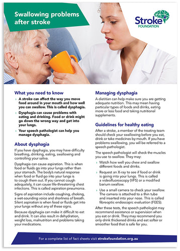 Fact sheet - Swallowing problems after stroke (50 pack)