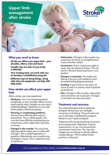 Fact sheet - Upper limb management after stroke (50 pack)
