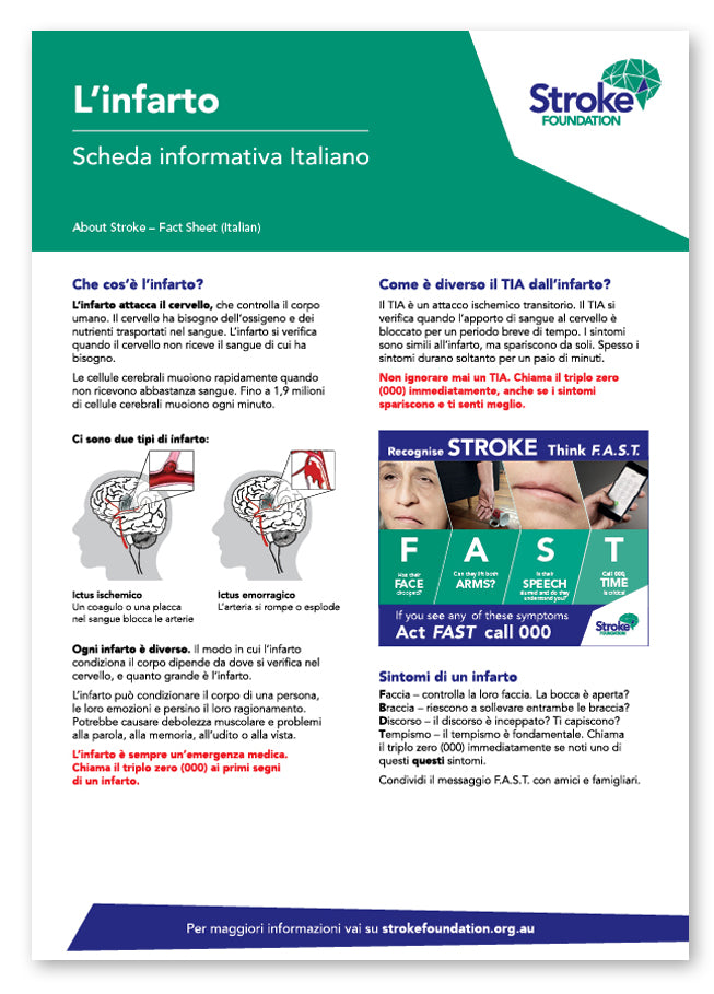 About Stroke fact sheet - Italiano (Italian)