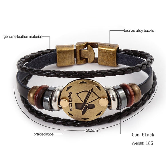 12 Constellations Vintage Leather Bracelets - Handmade by BENTROP