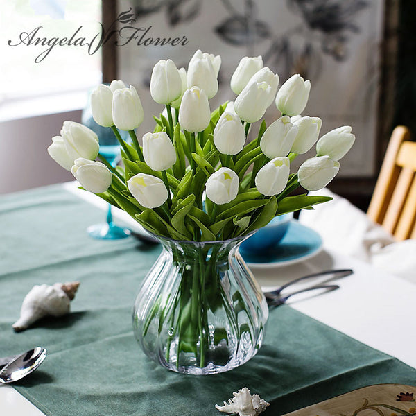 31PCS/LOT pu mini tulip flower real touch wedding flower