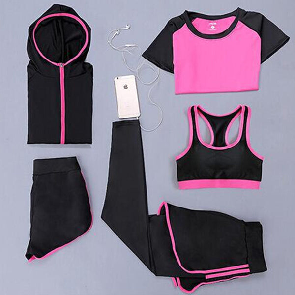 Women Yoga Training 5 Piece Set Quick Dry