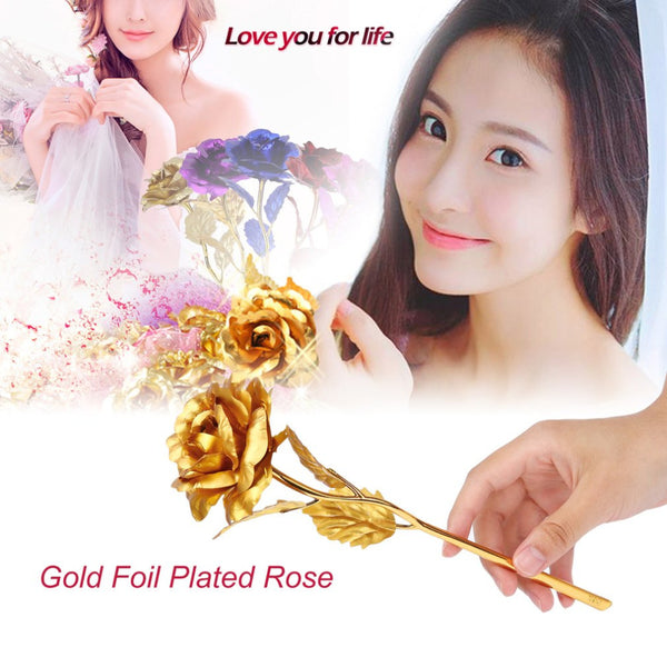 24k Gold Foil Plated Rose Creative Gifts Lasts Forever Rose