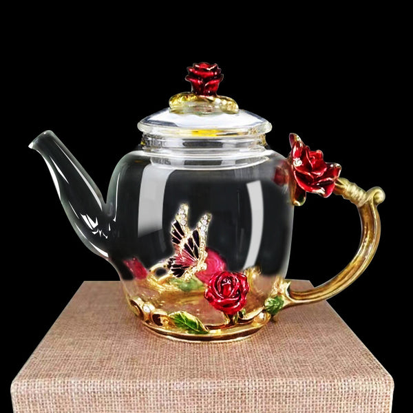 260ml Enamel color rose teapot heat-resistant glass teapot creative enamel pot filter kettle