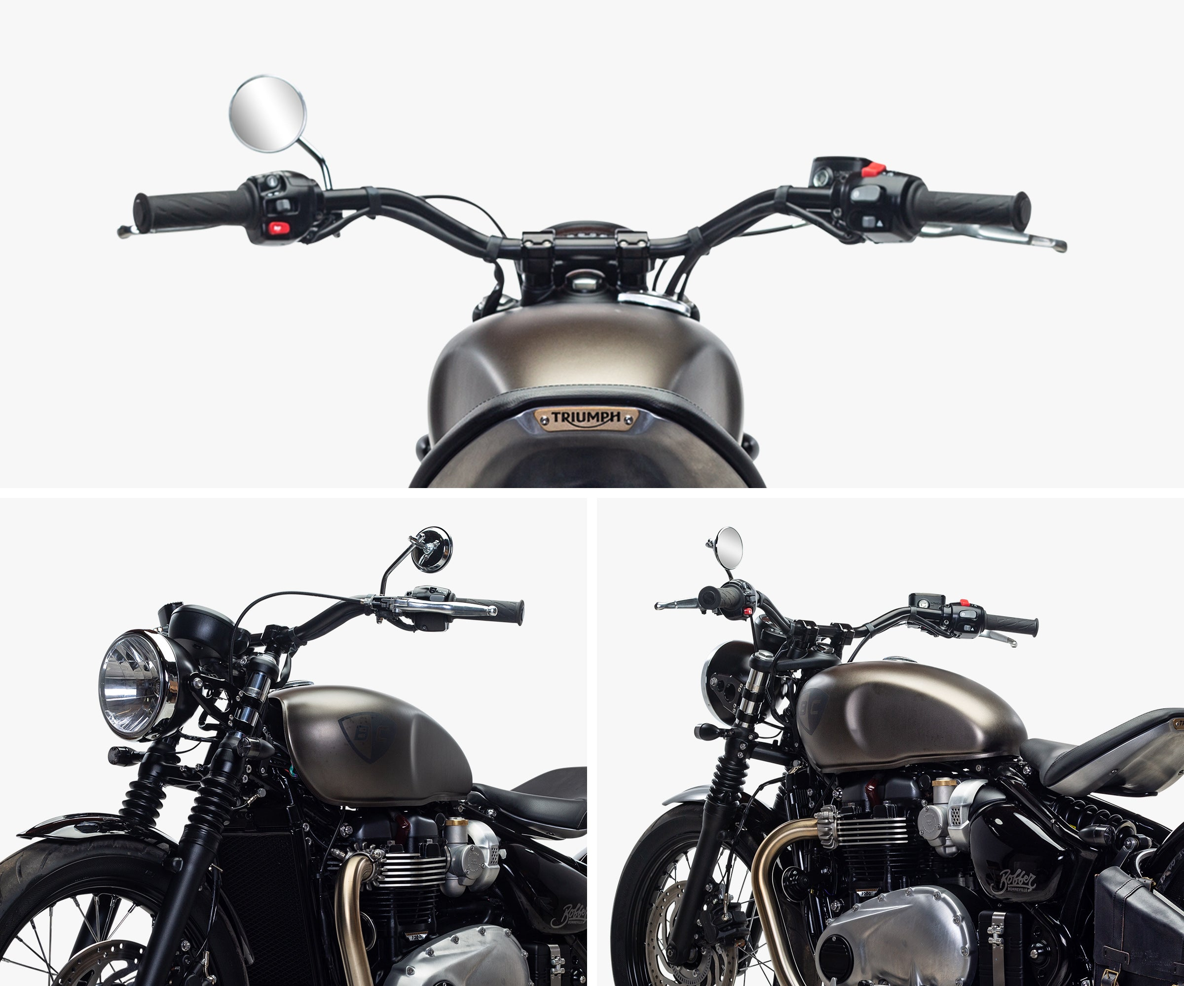 British Customs Triumph Bonneville Bobber Tracker Handlebar Kit
