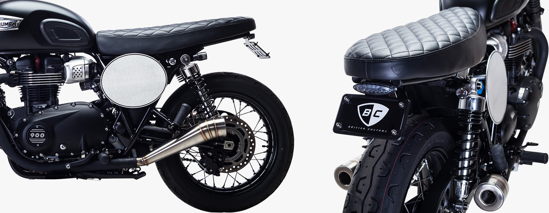 British Customs Cateye Fender Eliminator Kit on Bonneville T100 Liquid Cooled