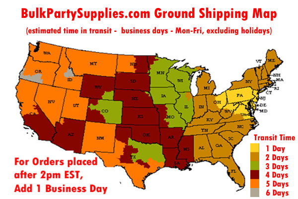 Bulk Party Supplies Ground Shipping Map