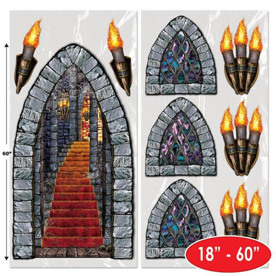 Halloween Party Stairway, Window & Torch Props (Case of 108)
