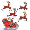 Vintage Christmas Santa & Sleigh Cutouts (Pack of 60)