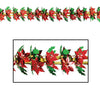 Beistle Poinsettia & Holly Garland/Column (Pack of 12) - Christmas Garland, Christmas Party Decorations, Christmas Party Supplies