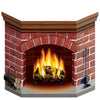 Christmas Brick Fireplace Stand-Up