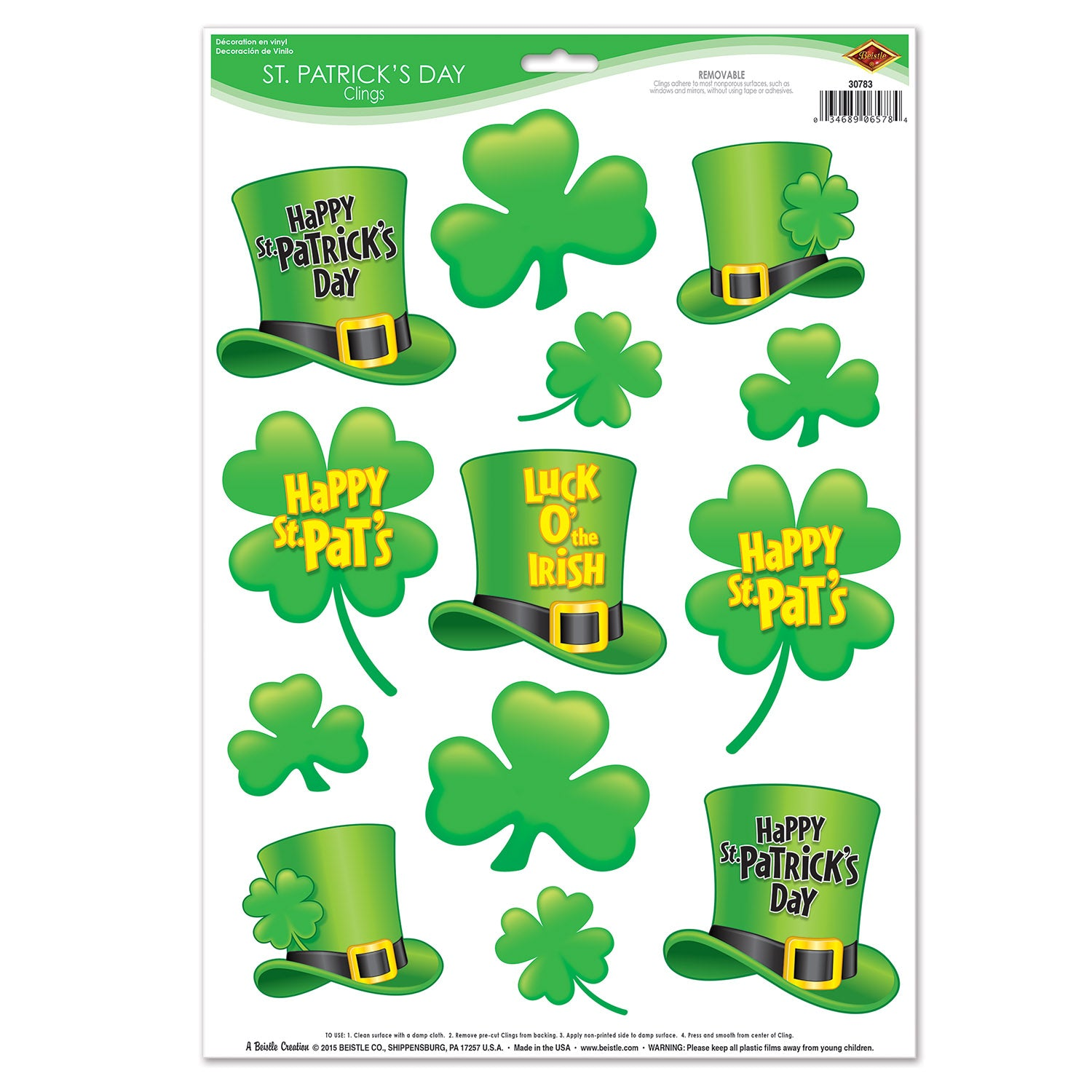 St Patrick S Day Clings 12 Sheets Per Case