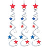 4th of July Party Supplies - Star Whirls, red, silver, blue