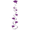 Graduation Party Supplies: Printed Grad Cap Whirls purple