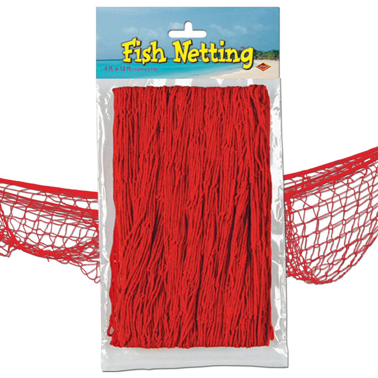 12ct) Beistle Luau Party Fish Netting red - Bulk Party Supplies