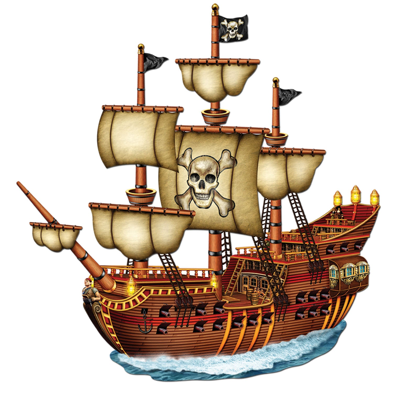 Case of 12) Beistle Pirate Party Jointed Pirate Ship