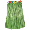 Adult Artificial Grass Hula Skirt with Floral Waistband - green