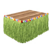 Artificial Grass Flowered Table Skirting - green
