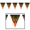 Motorcycle Party Supplies - Flame Pennant Banner