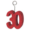 Red Glittered ''30'' Photo/Balloon Holder