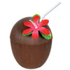 Plastic Coconut Cup - includes flower & straw