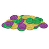Mardi Gras Plastic Coins - assorted gold, green, purple