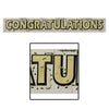 Metallic Congratulations Fringe Banner - gold lettering