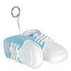 Baby Shoes Photo/Balloon Holder, white with lt blue upper