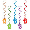 13 Whirls, party supplies, decorations, The Beistle Company, Birthday-AgeSpecific, Bulk, Birthday Party Supplies, Birthday Party Decorations, Birthday Party Danglers
