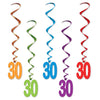 30 Whirls, party supplies, decorations, The Beistle Company, Birthday-AgeSpecific, Bulk, Birthday Party Supplies, Birthday Party Decorations, Birthday Party Danglers