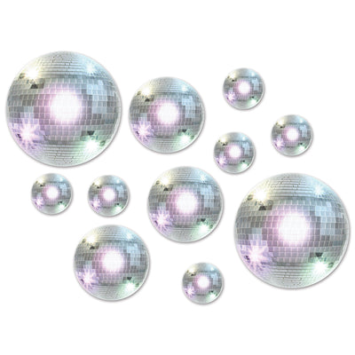 Disco Ball Cutouts, party supplies, decorations, The Beistle Company, 70's, Bulk, Other Party Themes, 60's - 70's - 80's Theme