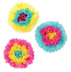 Tissue Flowers Cerise/Turquoise/Yellow, party supplies, decorations, The Beistle Company, Luau, Bulk, Luau Party Supplies, Luau Party Decorations, Luau Tissue Decorations