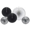 Assorted Paper & Foil Decorative Fans Black and Silver, party supplies, decorations, The Beistle Company, New Years, Bulk, Holiday Party Supplies, Discount New Years Eve 2017 Party Supplies, New Year's Eve Decorations, Miscellaneous New Years Eve Decorations