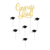 Beistle Congrats Grad! Cake Topper (Pack of 12) - Graduation Party Decorations, Miscellaneous Graduation Decorations