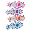 Mini Glittered Foil 40 Cutouts, Assorted Colors