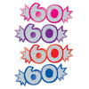 Mini Glittered Foil 60 Cutouts, Assorted Colors