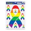 Party Decorations - Rainbow Ribbon Peel 'N Place Clings