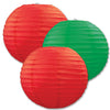 Red and Green Christmas Paper Lanterns