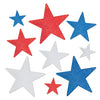 Beistle Glittered Foil Star Cutouts (12 packs) - 4th of July Party Decorations, 4th of July Political and Patriotic