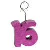 Glittered 16 Photo/Balloon Holder, cerise
