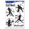 Softball Peel 'N Place Clings, party supplies, decorations, The Beistle Company, Softball, Bulk, Sports Party Supplies, Softball Party Supplies