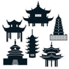 Beistle Pagoda Silhouettes (12 packs) - Asian Themed Decorations, International Party Themes