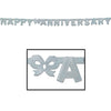 Foil Happy Anniversary Streamer - silver