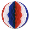 Patriotic Party Supplies - Tissue Ball - red, white, blue
