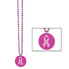 Beads with Printed Pink Ribbon Medallion